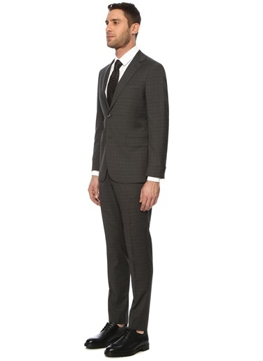 George Hogg George Hogg 7004156 Slim Fit Ekose Antrasit Takım Elbise Erkek Takım Elbise Antrasit